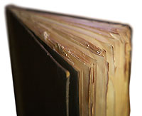 Book's tattered page edges